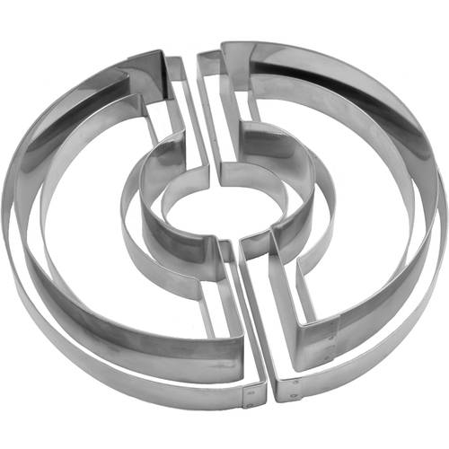 Set of modular cake rings for round desserts stainless steel