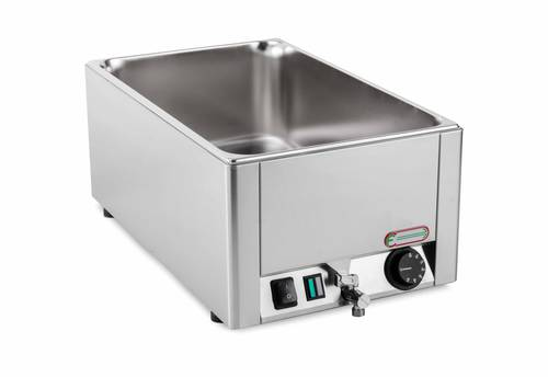 Electric bain marie with shaped vat GN 1/1 and drain tap