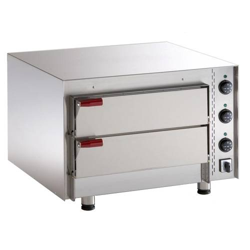 Electric pizza oven with 2 chambers 51x51 cm