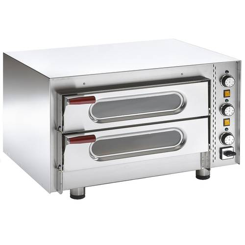 Electric pizza oven with glass doors and 2 chambers 51x51 cm