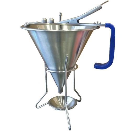 Stainless steel automatic confectionery funnel with plastic handle