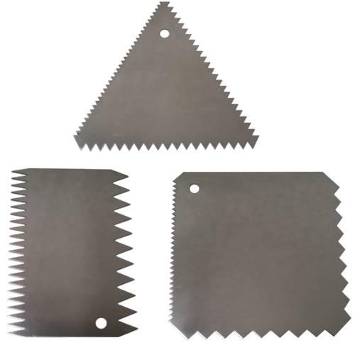 Set di 3 raschie in acciaio inox a pettine