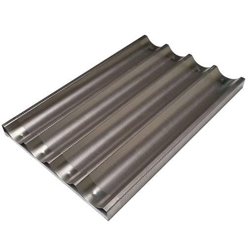 Teglia da forno per baguette forata in alluminio cm 60x40 su traversino