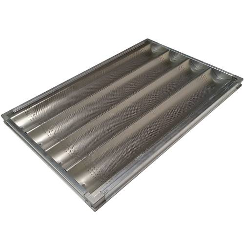 Teglia da forno per baguette forata in alluminio cm 60x40 su telaio