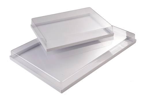Vassoio in plastica con coperchio trasparente da cm. 60x40