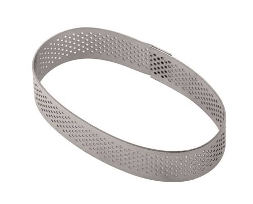 Oval perforated stainless cake ring